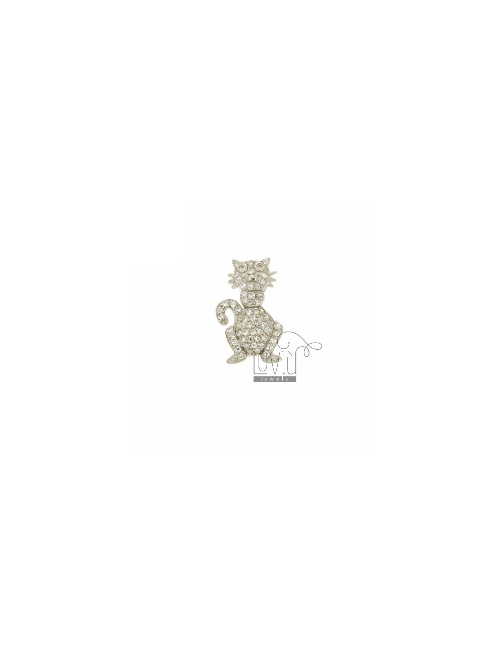 CIONDOLO GATTINO PASSANTE MM 21X13 IN AG TIT 925‰ E ZIRCONI