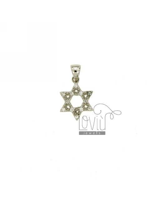 STAR OF DAVID PENDANT IN AG TIT 925 ‰ AND ZIRCONIA