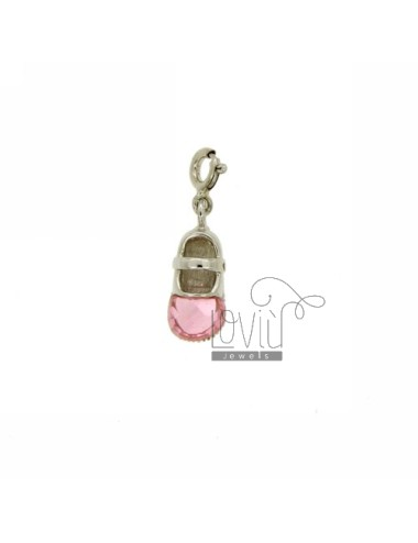 PENDANT SCARPETTA 17x7 MM IN AG TIT 925 ‰ AND CRYSTAL PINK SHIRT WITH SPRING