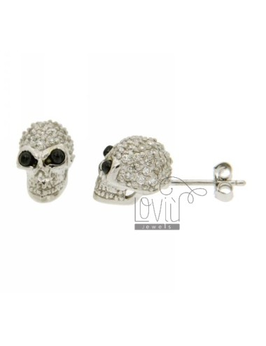 LOBO WITH A SKULL EARRINGS PAVE &39EYES OF ZIRCONIA AND ONYX IN RHODIUM AG TIT 925