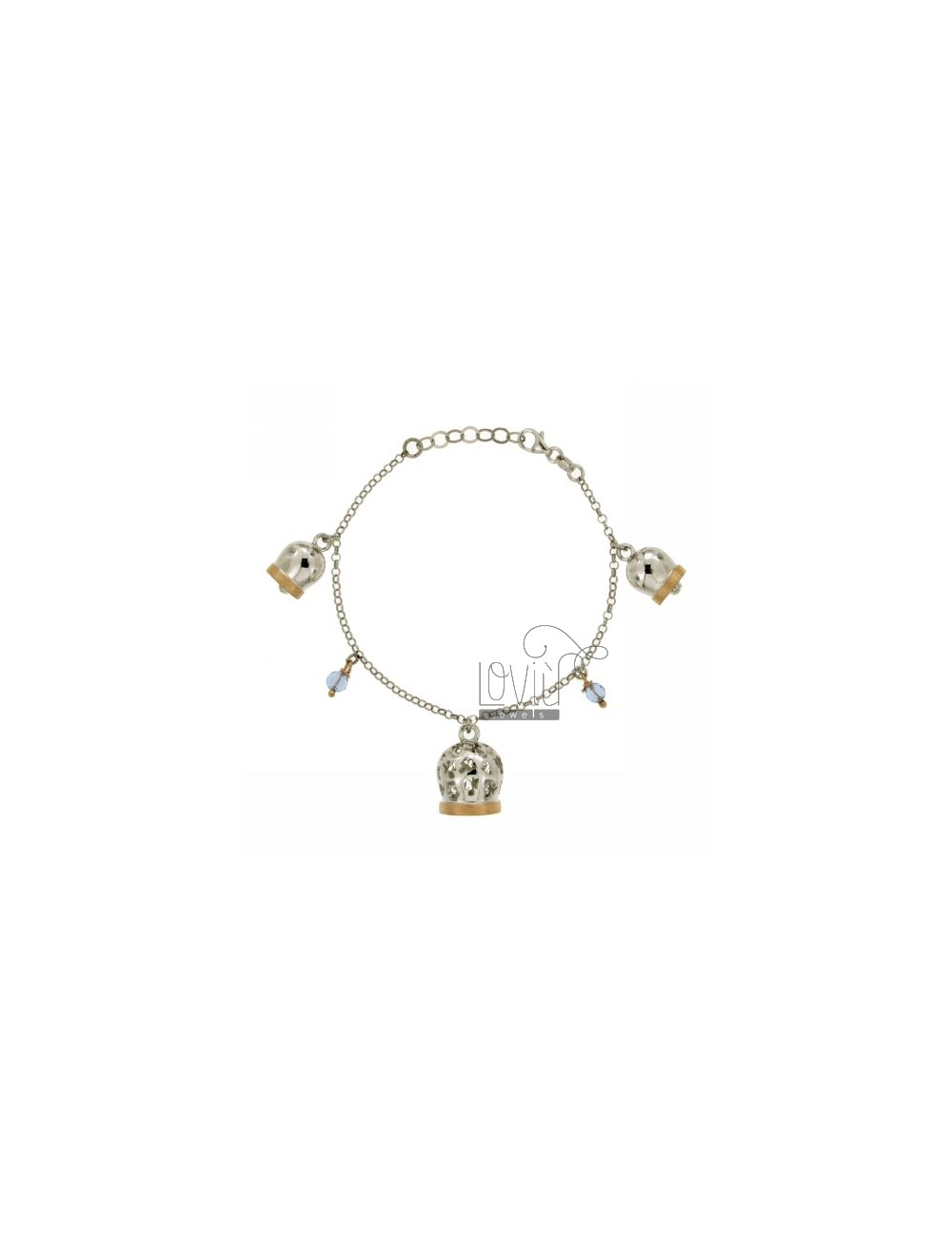 3 RINGS BRACELET IN AG RODIARO AND ROSE GOLD PLATED 19 CM TIT 925 ‰