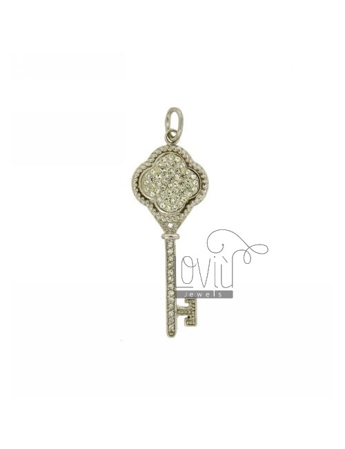 CHARM KEY 43X17 MM IN AG TIT 925 ‰ RESIN AND STRASS