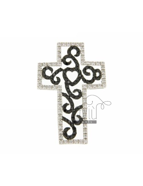 52X35 MM CROSS PENDANT IN RHODIUM AG TIT 925 ‰ WITH ZIRCONIA WHITE AND BLACKS