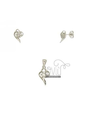 Earrings and Pendant CUORICINO STYLIZED SILVER TIT 925 ‰ AND ZIRCONIA