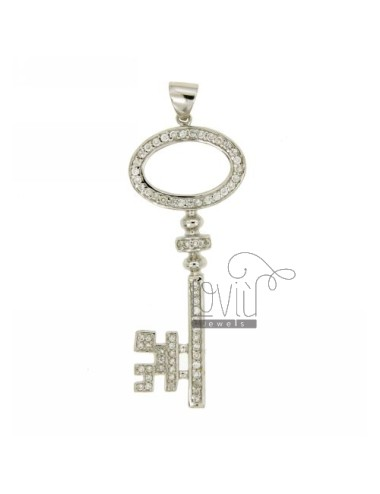 CHARM KEY 57X22 MM IN AG TIT 925 ‰ AND ZIRCONIA