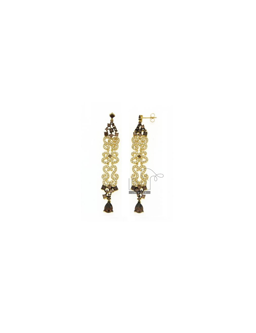Doodle EARRINGS PENDANTS WITH ZIRCONIA WHITE AND BROWN IN GOLD PLATED AG TIT 925 ‰
