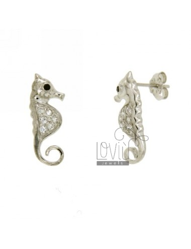 Earrings LOBO IPPOCAMPO WITH PAVE &39OF ZIRCONIA IN AG TIT RHODIUM 925 ‰
