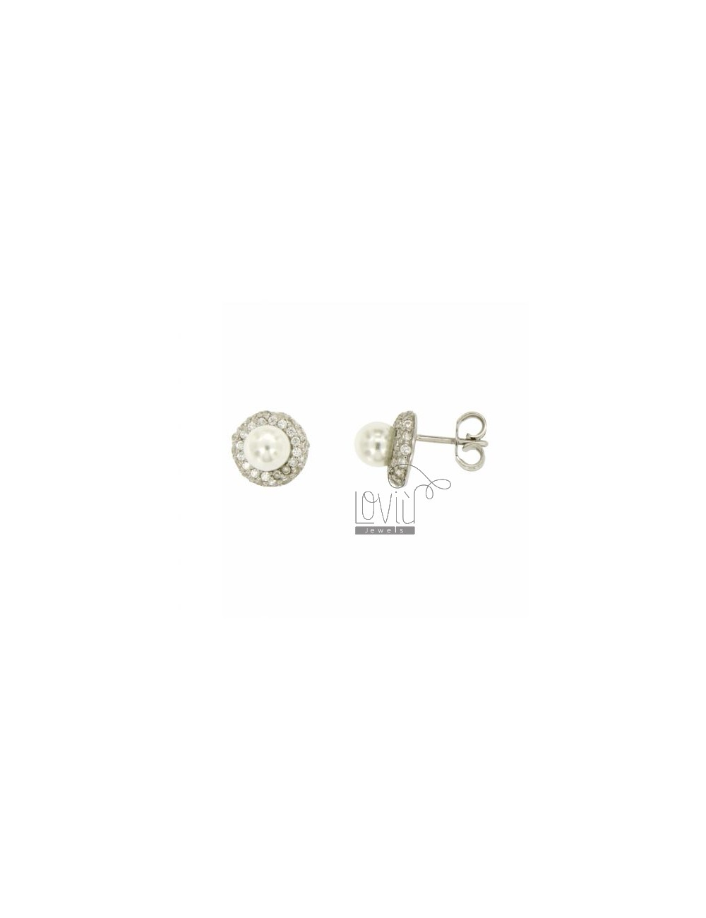 EARRINGS LOBO ROUND PEARL MM 6 SILVER TIT 925 ‰ AND ZIRCONIA