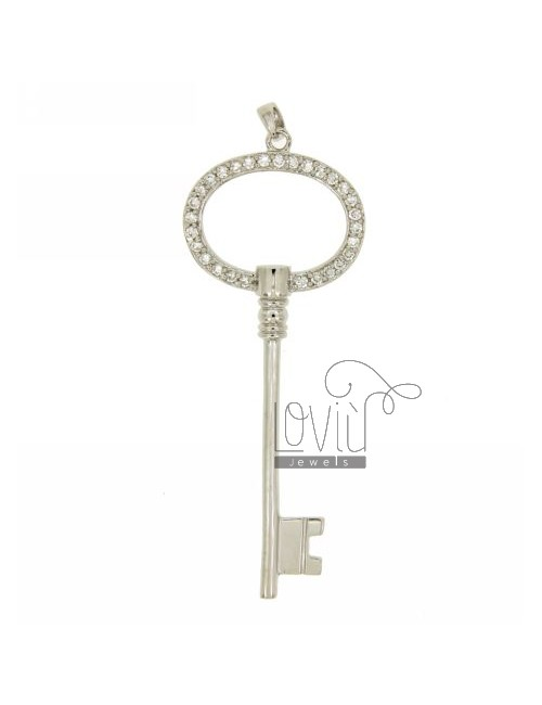 CHARM KEY 63X24 MM IN AG TIT 925 ‰ AND ZIRCONIA