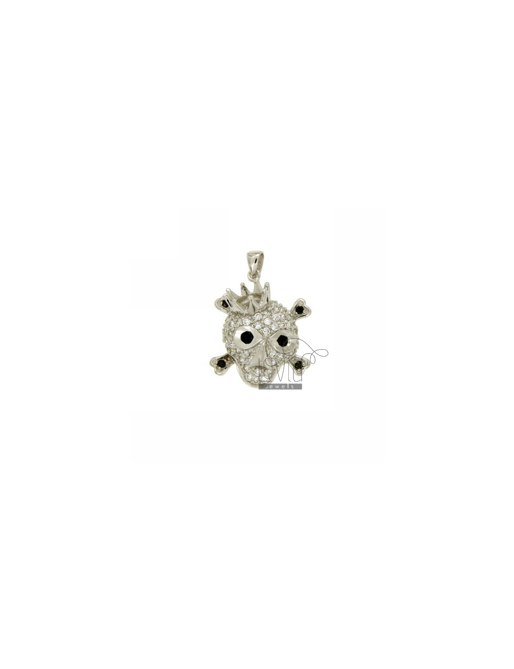 PENDANT SKULL KING 24x19 MM IN AG TIT 925 ‰ AND ZIRCONIA