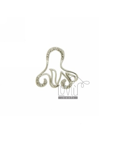 OCTOPUS PENDANT THROUGH 18X18 MM IN AG TIT 925 ‰ AND ZIRCONIA