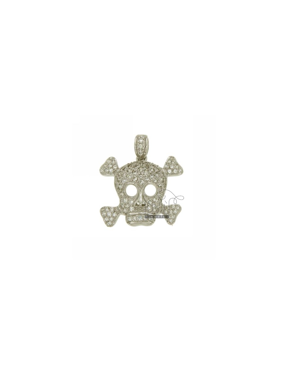 PENDANT SKULL PIRATES 26X28 MM IN AG TIT 925 ‰ AND ZIRCONIA
