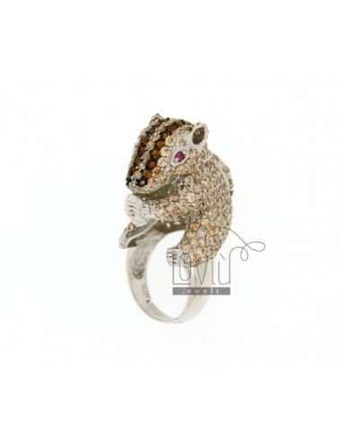 SQUIRREL IN RING RHODIUM AG TIT 925 ‰ VARIOUS COLORS AND ZIRCONIA SIZE 19
