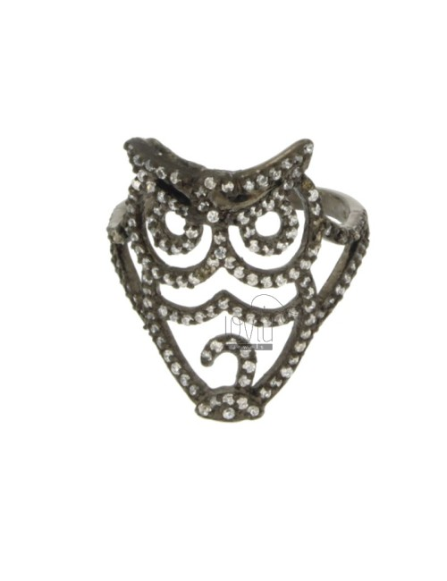 RING IN THE OWL AG PLATED RUTENIO TIT 925 ‰ AND ZIRCONIA MEASURE 14