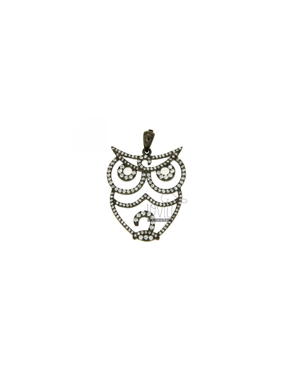 OWL PENDANT 32x28 MM IN AG PLATED RUTENIO TIT 925 ‰ AND ZIRCONIA