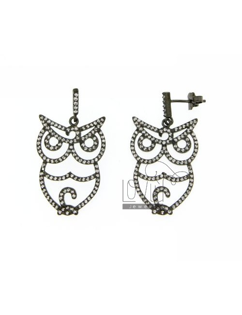 OWL EARRINGS WITH PAVE &39OF ZIRCONIA IN AG PLATED RUTENIO TIT 925