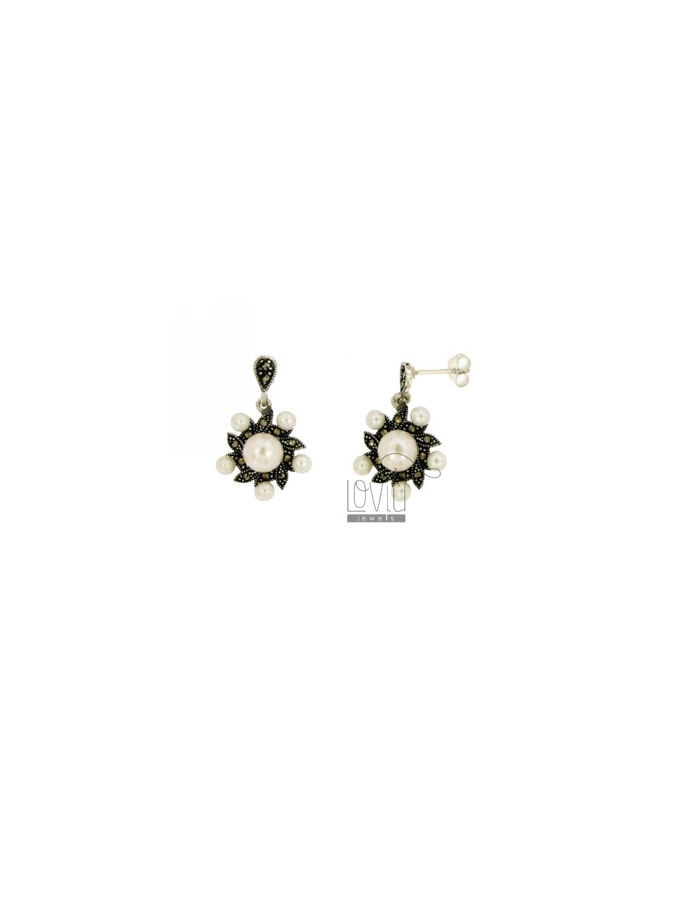 Earrings MARCASITE ARGENTIO TIT IN 925 AND PEARLS
