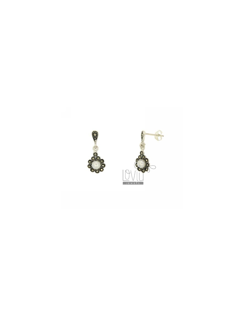 EARRINGS PEARL SILVER WITH MARCASITE TIT 925 ‰