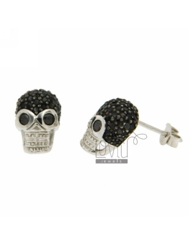 LOBO WITH A SKULL EARRINGS PAVE &39ZIRCONS OF BLACKS IN RHODIUM AG TIT 925 ‰