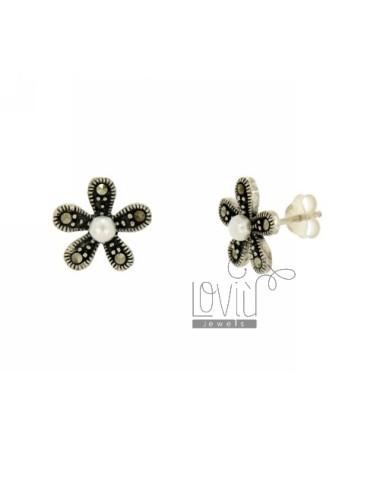 Marcasite earrings flower...