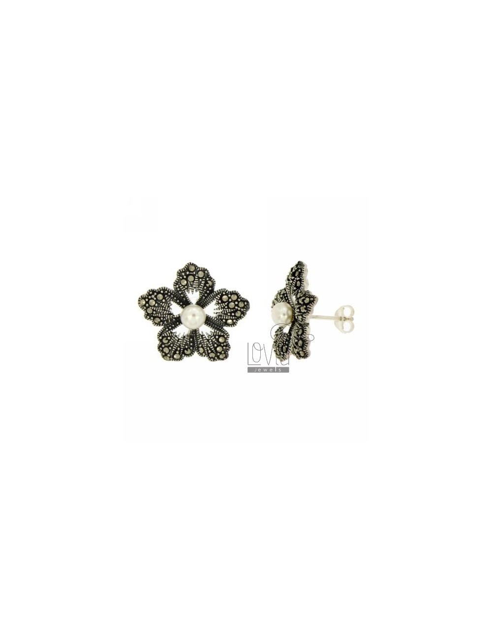 MARCASITE EARRINGS FLOWER AND PEARL IN AG TIT 925