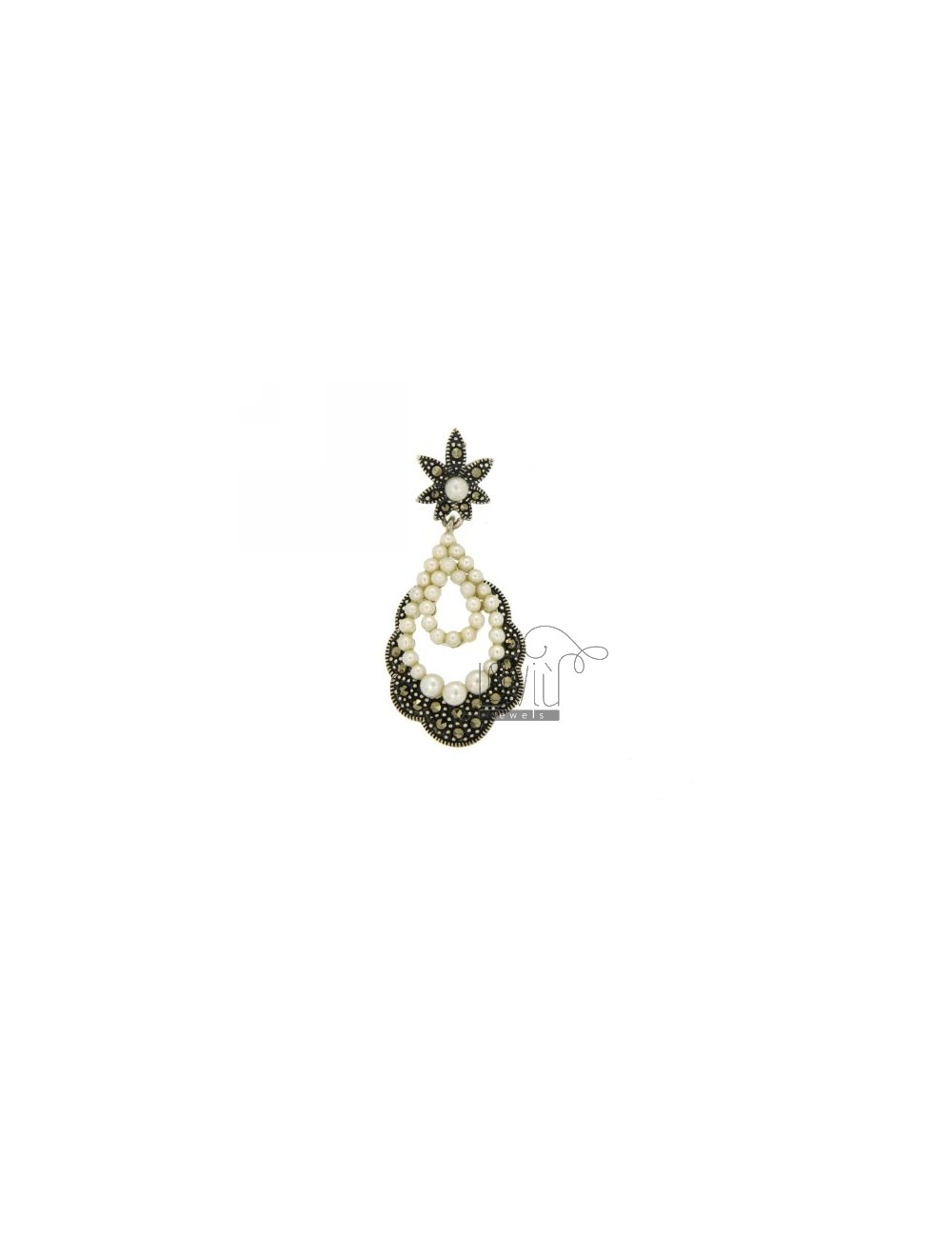 MARCASITE CHARM IN AG TIT 925 AND BEADS