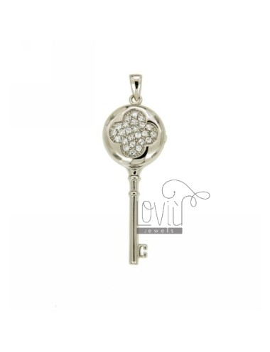 CHARM KEY FRAME 47X18 MM IN AG TIT 925 E ZIRCONS