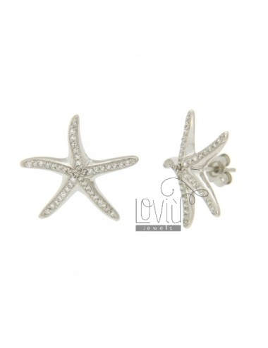 EARRING LOBO STARFISH WITH PAVE &39OF ZIRCONIA IN RHODIUM AG TIT 925