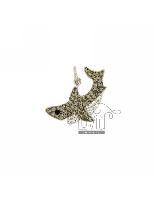 PENDANT SHARK 14x23 MM IN AG TIT 925 ‰ RESIN AND STRASS
