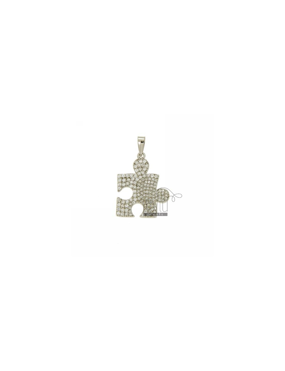 PUZZLE Pendant 23x18 MM IN AG TIT 925 ‰ AND ZIRCONIA