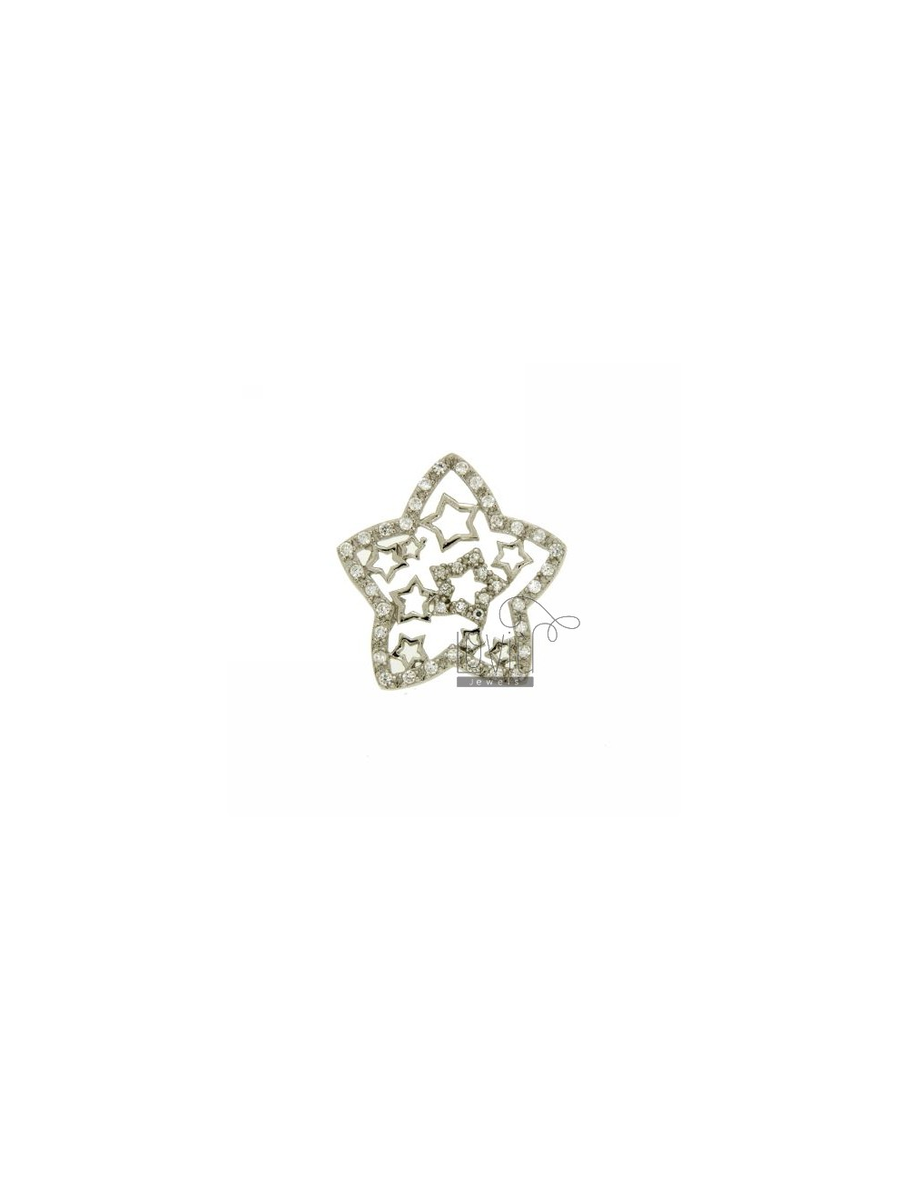 CHARM STAR THROUGH MM 27X27 IN AG TIT 925 ‰ AND ZIRCONIA