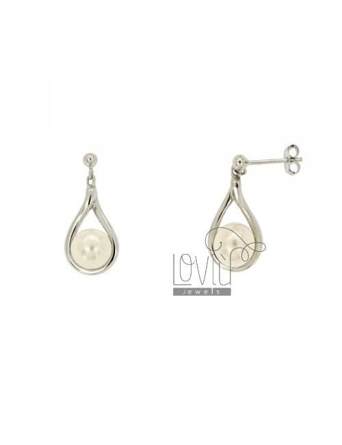 EARRINGS PEARL 8 MM WITH ZIRCONIA SILVER TIT 925 ‰