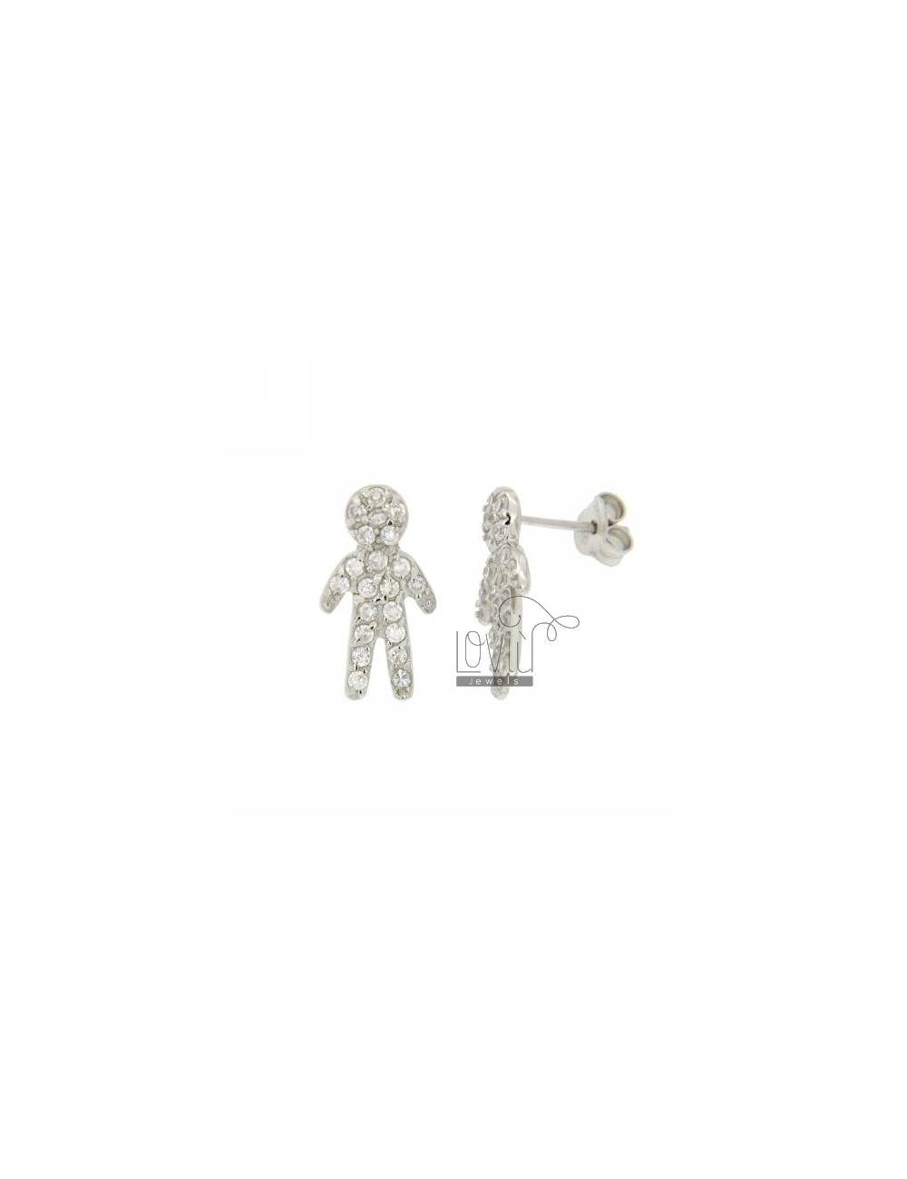 A BOY WITH LOBO EARRINGS PAVE &39OF ZIRCONIA IN RHODIUM AG TIT 925