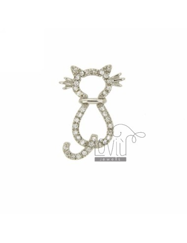 KITTY CHARM THROUGH 24x17 MM IN AG TIT 925 ‰ AND ZIRCONIA