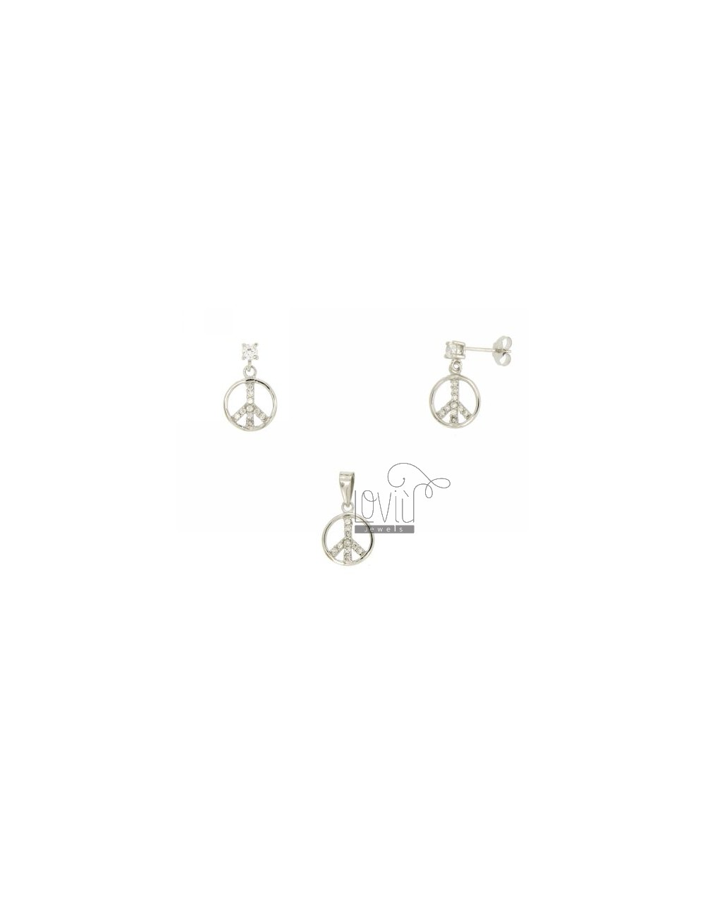 EARRINGS AND PENDANT PEACE SYMBOL IN AG TIT 925 ‰ AND ZIRCONIA