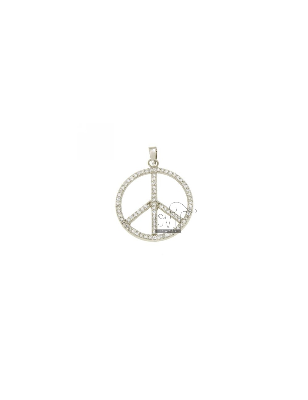 SYMBOL OF PEACE PENDANT 25 MM IN AG TIT 925 ‰ AND ZIRCONIA