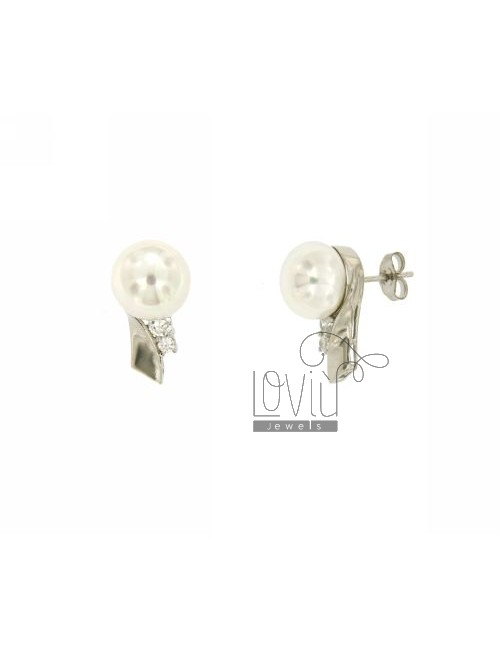 EARRINGS PEARL 10 MM AND ZIRCONIA SILVER TIT 925