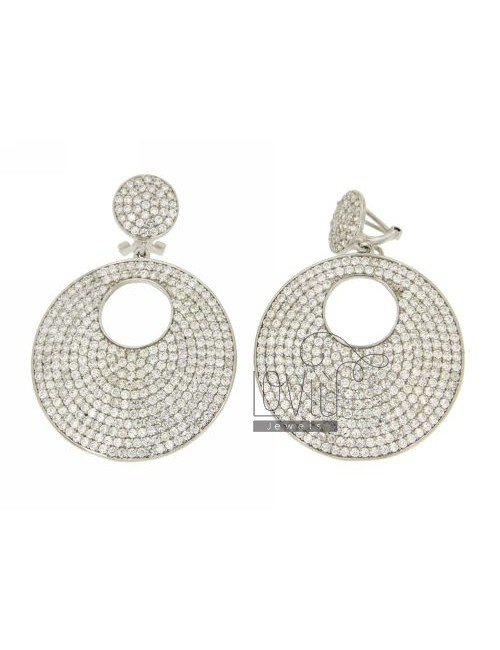 DOUBLE DISC EARRINGS WITH 12 AND 35 MM PAVE &39OF ZIRCONIA IN RHODIUM AG TIT 925 ‰