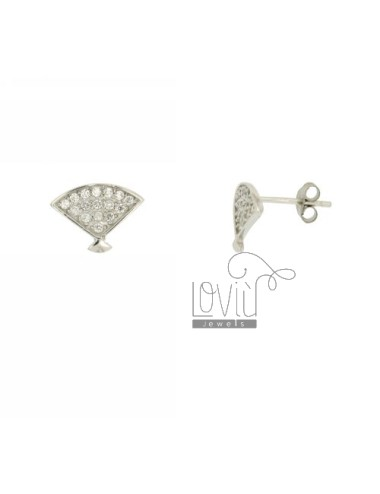 EARRINGS LOBO FAN MM 9X12 SILVER RHODIUM TIT 925 ‰ AND ZIRCONIA