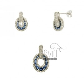 Earrings and Pendants AG TIT 925 ‰ AND ZIRCONIA