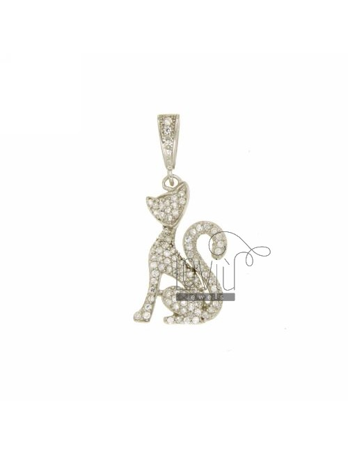 KITTY CHARM 22x17 MM IN AG TIT 925 ‰ AND ZIRCONIA