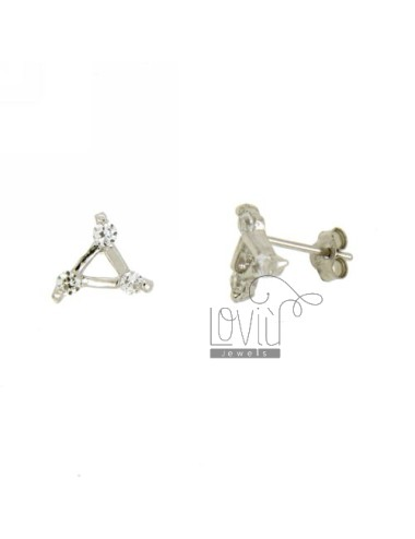 EARRINGS TRIANGLE WITH A LOBO ZIRCONIA IN AG TIT RHODIUM 925 ‰