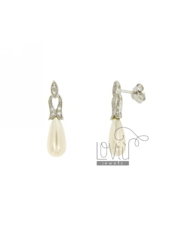DROP EARRINGS WITH PEARL AND PAVE &39OF ZIRCONIA SILVER TIT 925