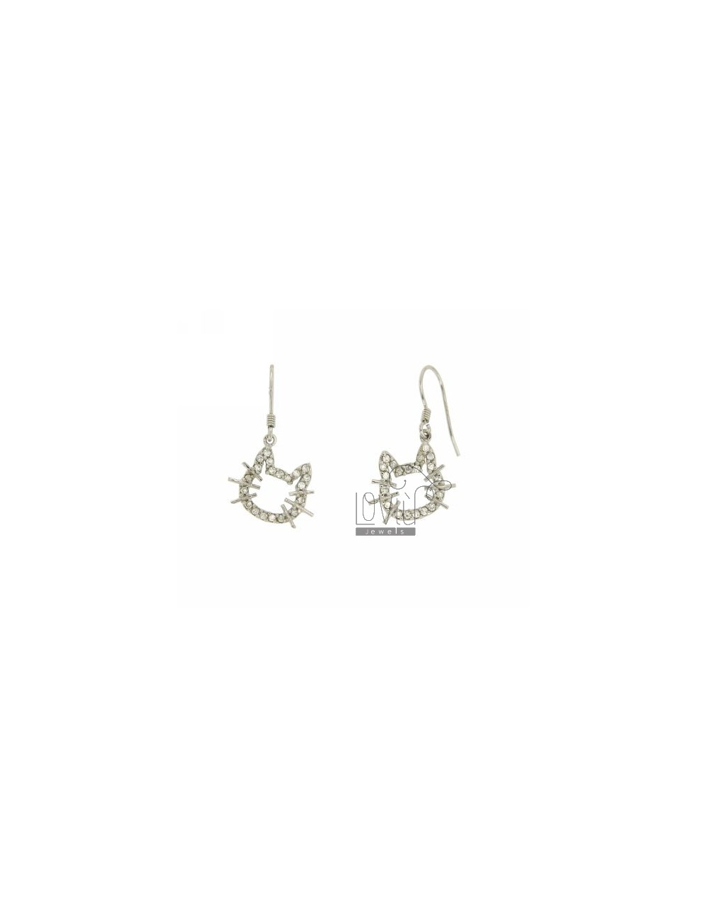 PENDING WITH ZIRCONIA EARRINGS FACE KITTEN IN AG TIT 925 ‰