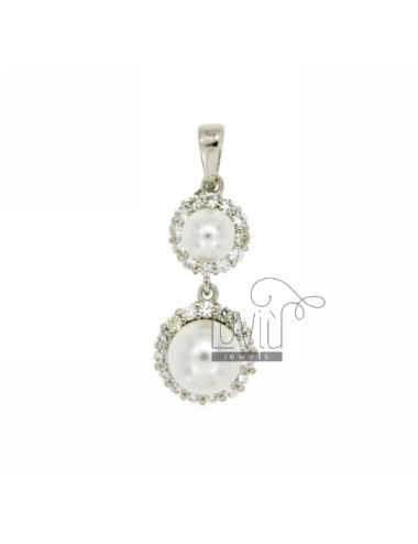 6 MM PEARL NECKLACE WITH SWAROVSKI AND 8 IN RHODIUM AG TIT 925 ‰