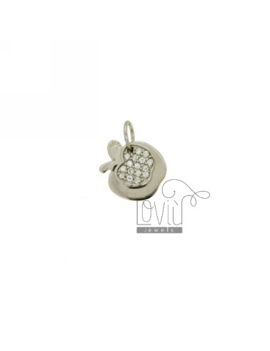 CHARM DOUBLE APPLE MM 12X11 IN AG TIT 925 ‰ AND ZIRCONIA