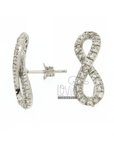 INFINITE EARRING WITH PIN AND ZIRCONIA SILVER RHODIUM 925 ‰