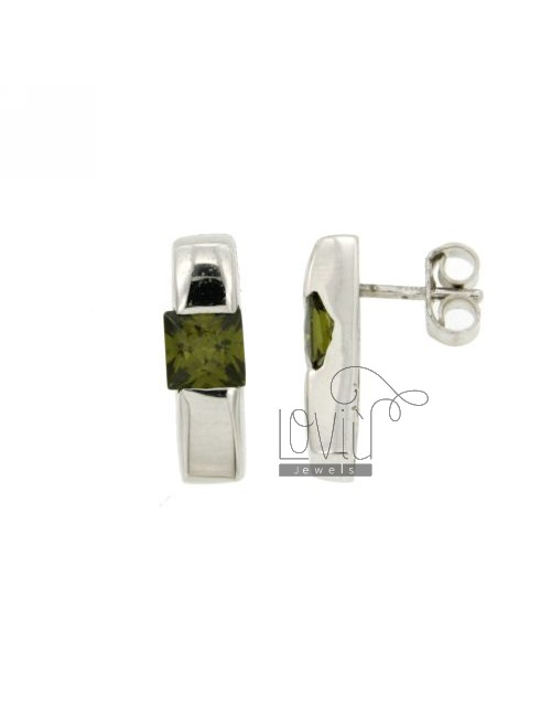 LOBO EARRINGS MATCH WITH ZIRCON GREEN SQUARE IN RHODIUM AG TIT 925 ‰