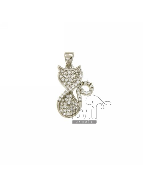 KITTY CHARM 20x13 MM IN AG TIT 925 ‰ AND ZIRCONIA