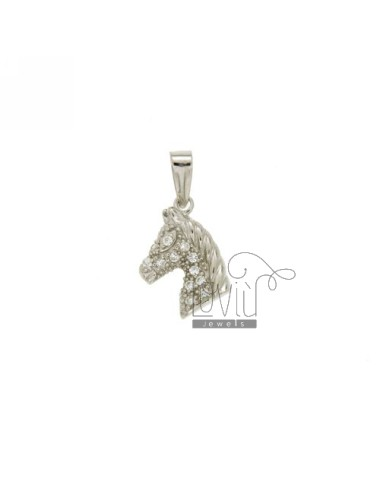 HORSE HEAD PENDANT 13x9 MM WITH SWAROVSKI RHODIUM IN AG TIT 925 ‰